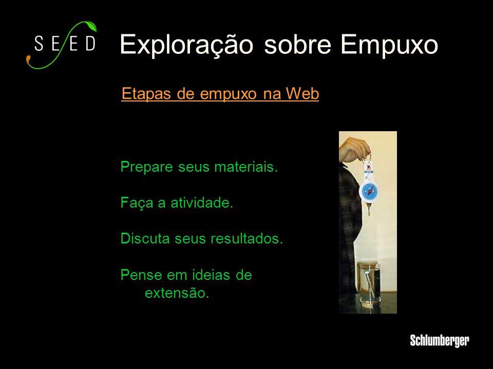 Exploração sobre Empuxo Etapas de empuxo na Web Prepare seus materiais. Faça a atividade. Discuta seus resultados. Pense em ideias de extensão.