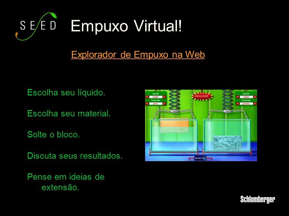 Empuxo Virtual! Explorador de Empuxo na Web Escolha seu líquido. Escolha seu material. Solte o bloco. Discuta seus resultados. Pense em ideias de exte