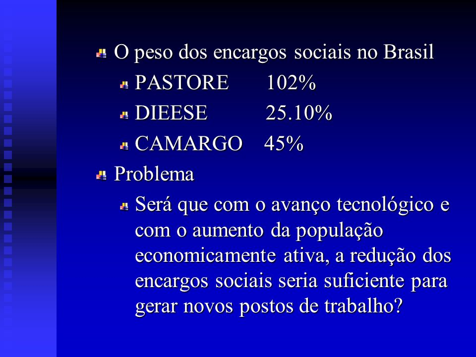 OBJETIVOS Objetivo Geral Avaliar os impactos de diferentes cenários de redução dos encargos sociais na geração de empregos e na competitividade brasileira Objetivos Especificos Determinar o impacto do aumento da PEA e do crescimento tecnológico nos indicadores macroeconômicos.