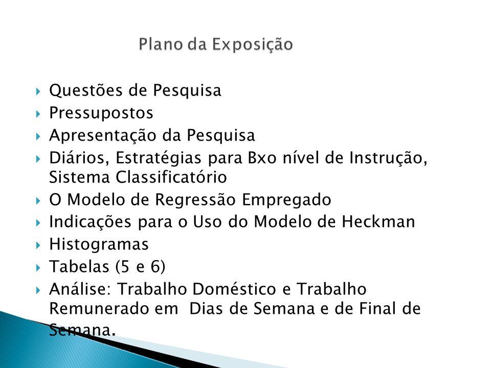  Questões de Pesquisa  Pressupostos  Apresentação da Pesquisa  Diários, Estratégias para Bxo nível de Instrução, Sistema Classificatório  O Modelo de Regressão Empregado  Indicações para o Uso do Modelo de Heckman  Histogramas  Tabelas (5 e 6)  Análise: Trabalho Doméstico e Trabalho Remunerado em Dias de Semana e de Final de Semana.