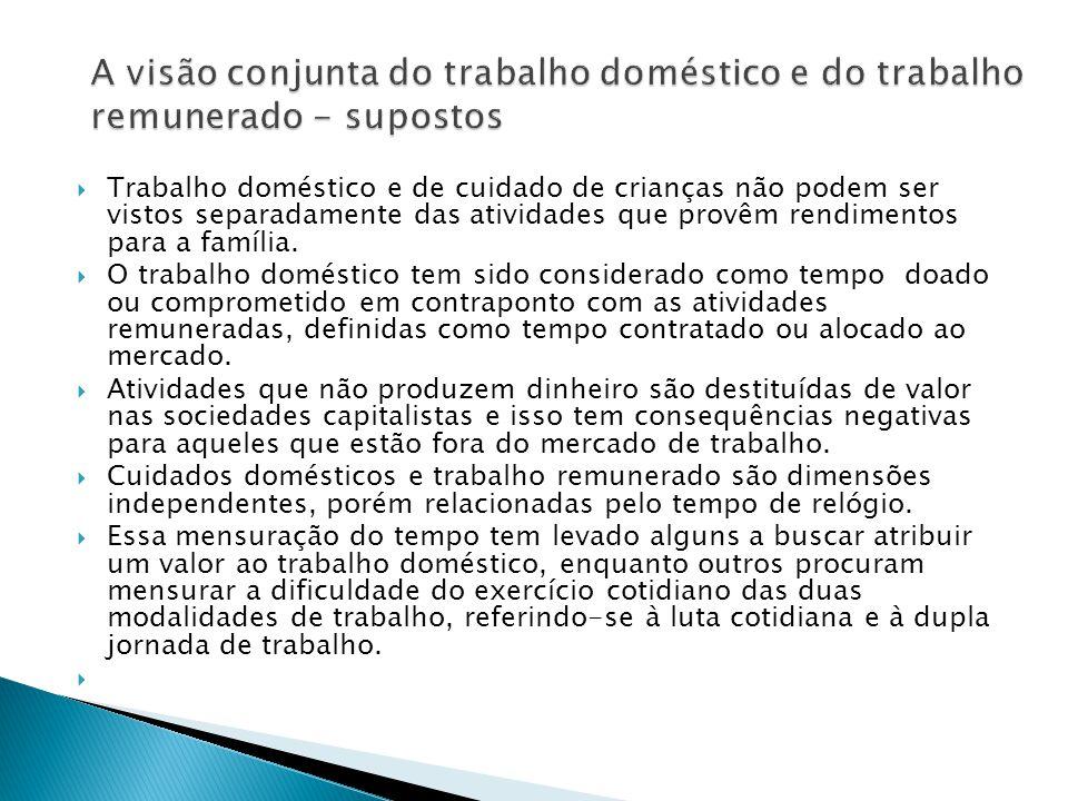  Trabalho doméstico e de cuidado de crianças não podem ser vistos separadamente das atividades que provêm rendimentos para a família.