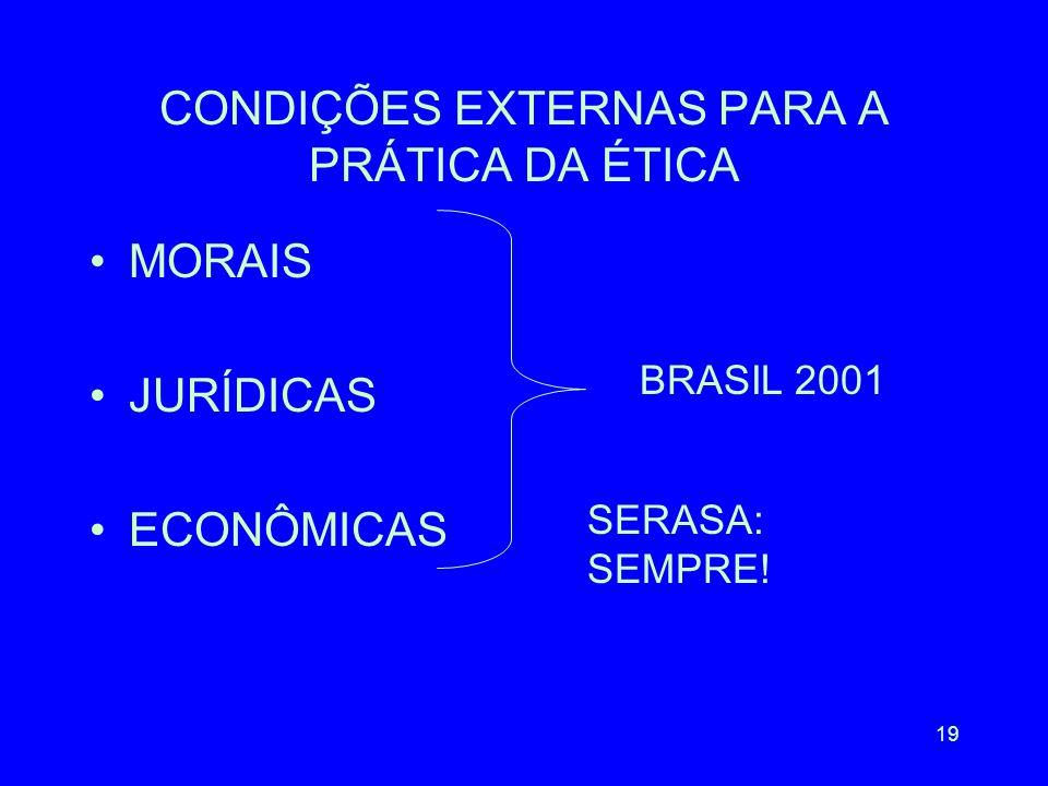 19 CONDIÇÕES EXTERNAS PARA A PRÁTICA DA ÉTICA MORAIS JURÍDICAS ECONÔMICAS BRASIL 2001 SERASA: SEMPRE!