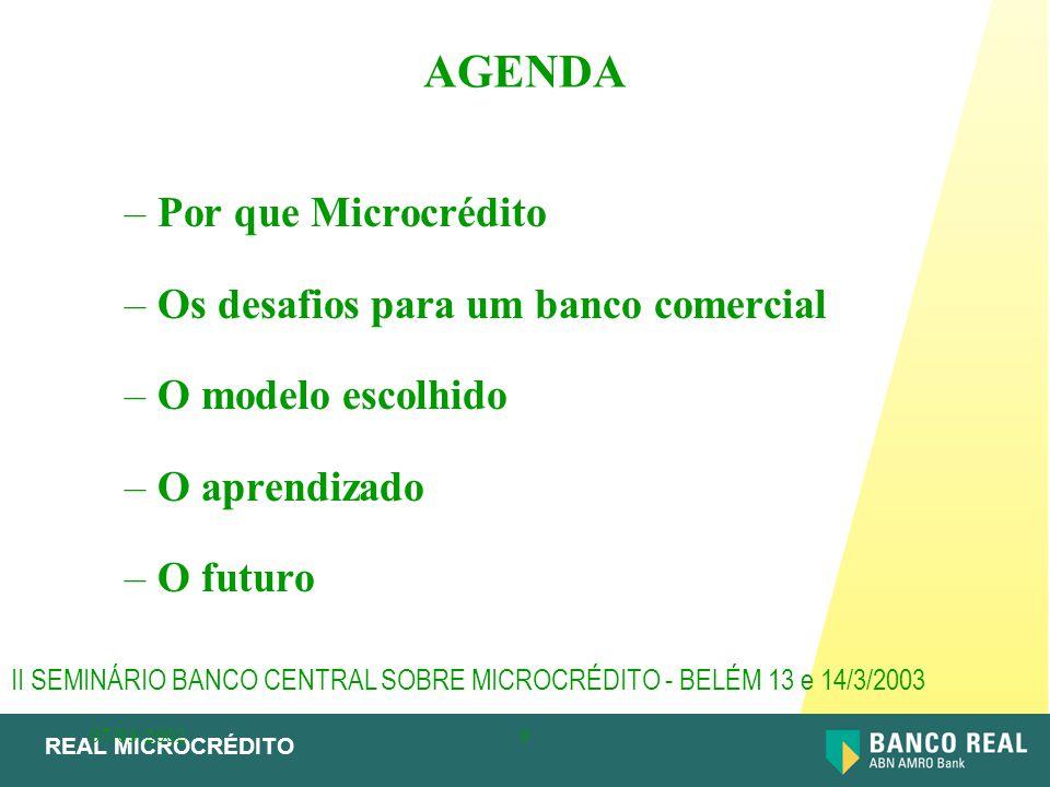REAL MICROCRÉDITO 07/03/20029 –Por que Microcrédito –Os desafios para um banco comercial –O modelo escolhido –O aprendizado –O futuro AGENDA II SEMINÁ