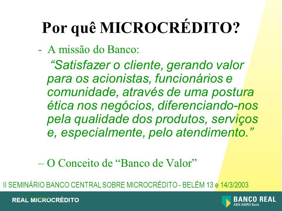 """REAL MICROCRÉDITO 07/03/20029 Por quê MICROCRÉDITO? - A missão do Banco: """"Satisfazer o cliente, gerando valor para os acionistas, funcionários e comun"""