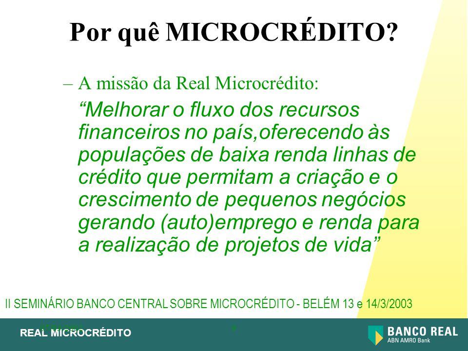 """REAL MICROCRÉDITO 07/03/20029 Por quê MICROCRÉDITO? –A missão da Real Microcrédito: """"Melhorar o fluxo dos recursos financeiros no país,oferecendo às p"""