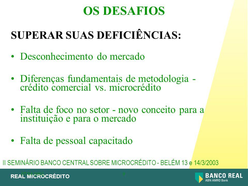 REAL MICROCRÉDITO 07/03/20029 OS DESAFIOS SUPERAR SUAS DEFICIÊNCIAS: Desconhecimento do mercado Diferenças fundamentais de metodologia - crédito comer