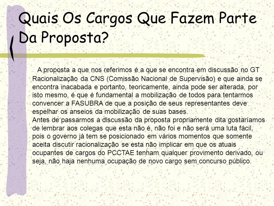 Quais Os Cargos Que Fazem Parte Da Proposta? A proposta a que nos referimos é a que se encontra em discussão no GT Racionalização da CNS (Comissão Nac