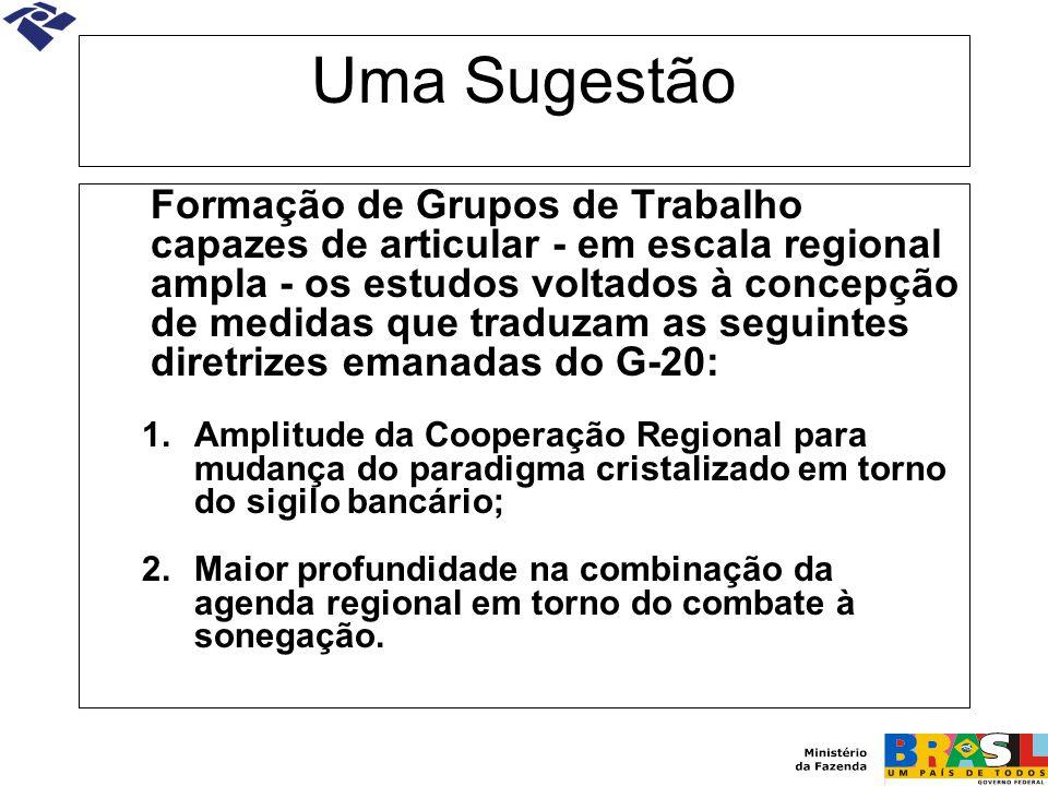 Uma Sugestão Formação de Grupos de Trabalho capazes de articular - em escala regional ampla - os estudos voltados à concepção de medidas que traduzam
