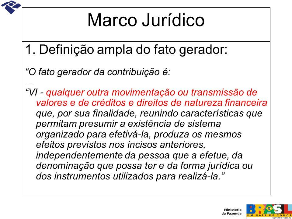 """Marco Jurídico 1. Definição ampla do fato gerador: """"O fato gerador da contribuição é:...... """"VI - qualquer outra movimentação ou transmissão de valore"""