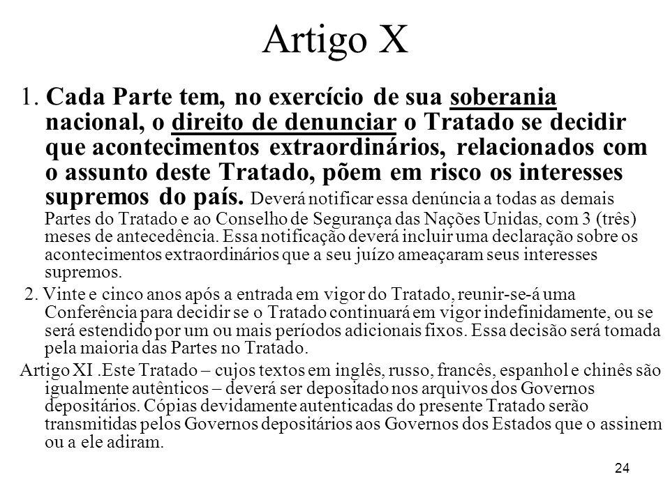 24 Artigo X 1. Cada Parte tem, no exercício de sua soberania nacional, o direito de denunciar o Tratado se decidir que acontecimentos extraordinários,