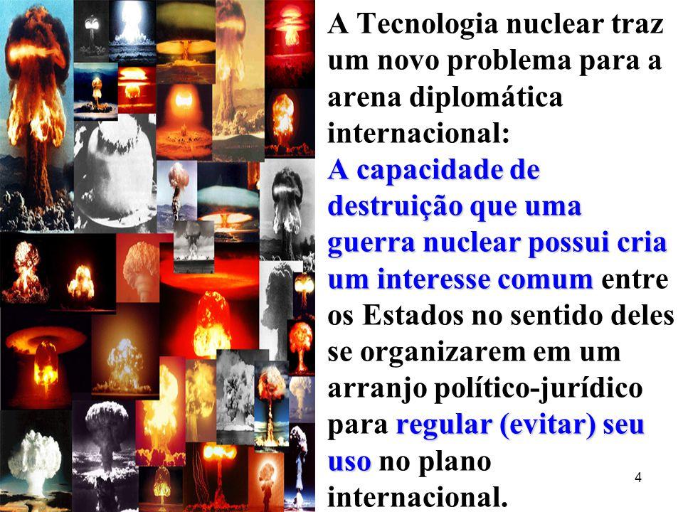 A capacidade de destruição que uma guerra nuclear possui cria um interesse comum regular (evitar) seu uso A Tecnologia nuclear traz um novo problema p