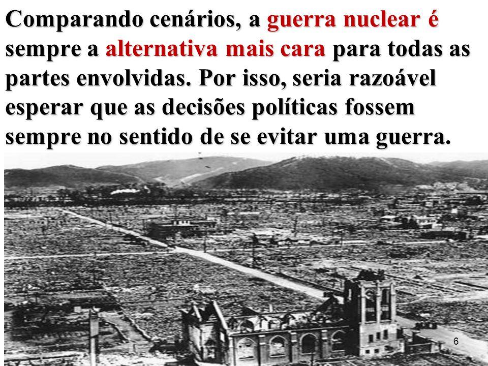 Comparando cenários, a guerra nuclear é sempre a alternativa mais cara para todas as partes envolvidas. Por isso, seria razoável esperar que as decisõ