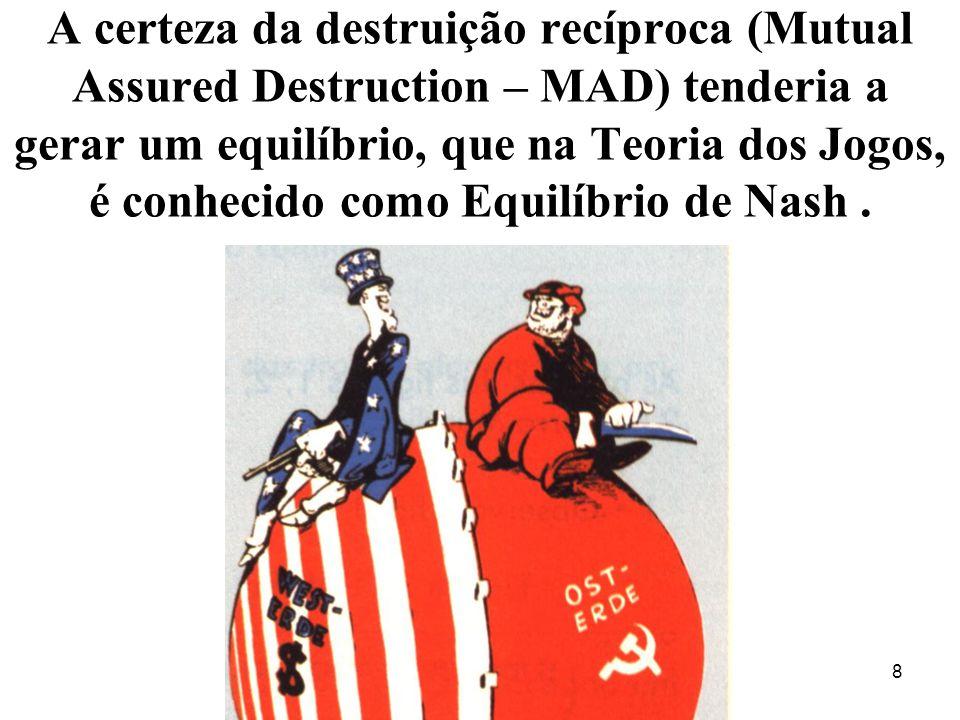 A certeza da destruição recíproca (Mutual Assured Destruction – MAD) tenderia a gerar um equilíbrio, que na Teoria dos Jogos, é conhecido como Equilíbrio de Nash.