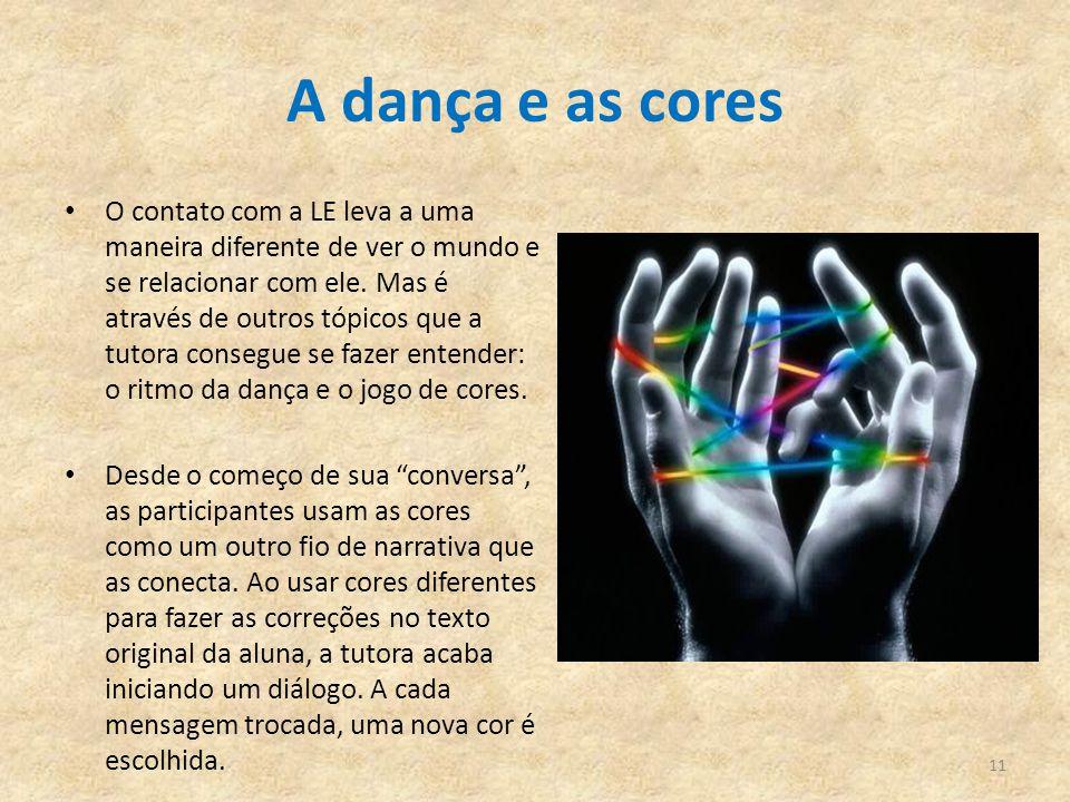 A dança e as cores O contato com a LE leva a uma maneira diferente de ver o mundo e se relacionar com ele. Mas é através de outros tópicos que a tutor