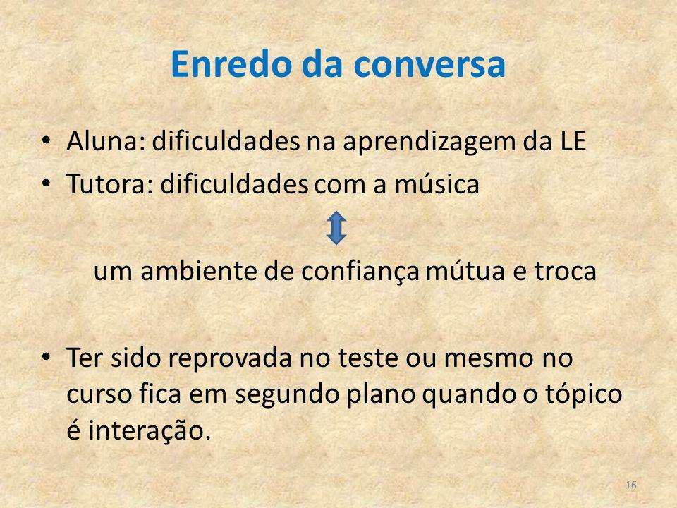 Enredo da conversa Aluna: dificuldades na aprendizagem da LE Tutora: dificuldades com a música um ambiente de confiança mútua e troca Ter sido reprova