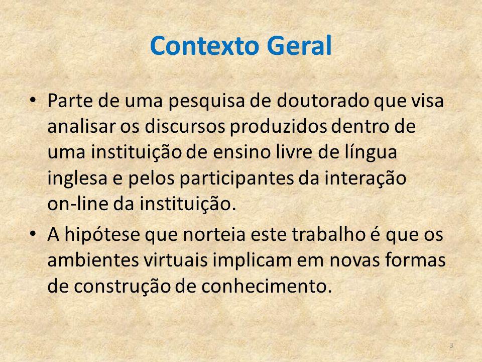 Contexto Geral Parte de uma pesquisa de doutorado que visa analisar os discursos produzidos dentro de uma instituição de ensino livre de língua ingles
