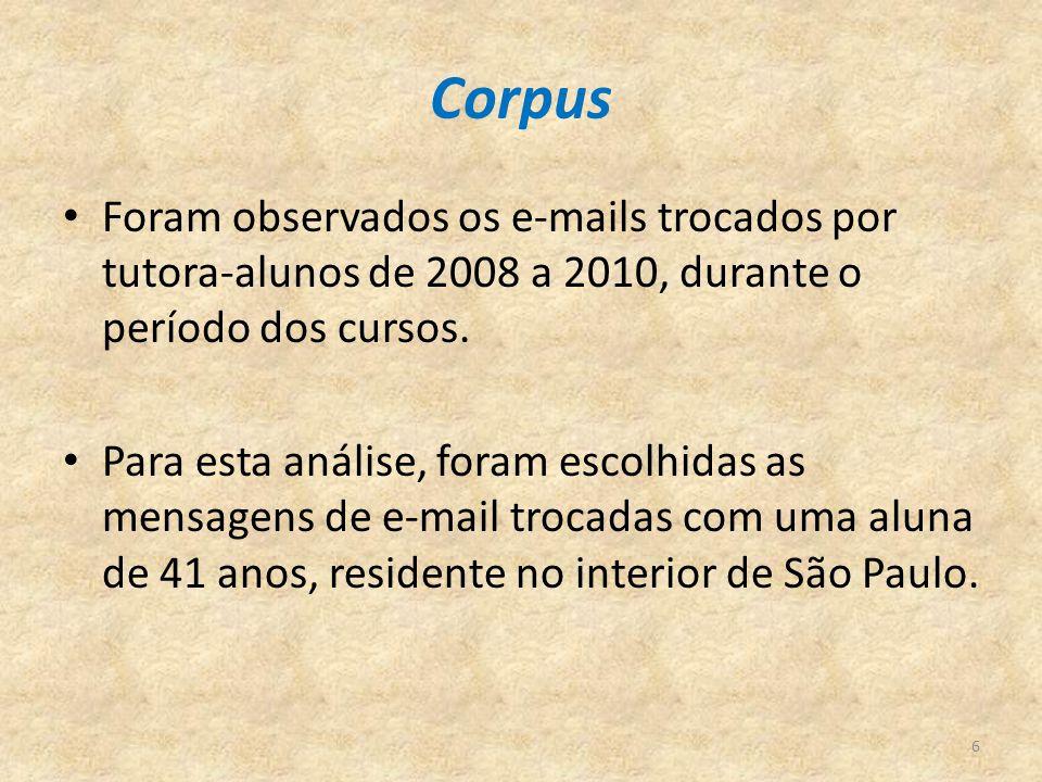 Corpus Foram observados os e-mails trocados por tutora-alunos de 2008 a 2010, durante o período dos cursos. Para esta análise, foram escolhidas as men