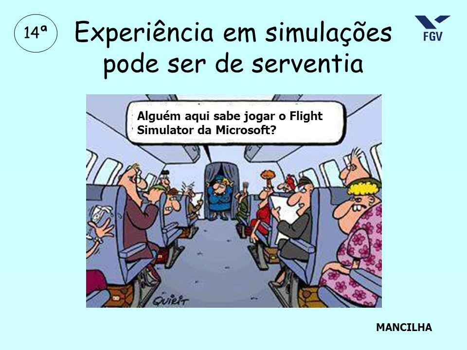 Experiência em simulações pode ser de serventia Alguém aqui sabe jogar o Flight Simulator da Microsoft? MANCILHA 14ª