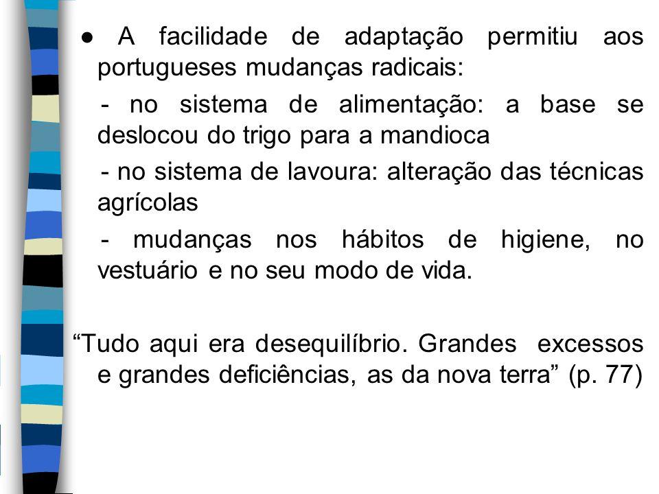 ● A facilidade de adaptação permitiu aos portugueses mudanças radicais: - no sistema de alimentação: a base se deslocou do trigo para a mandioca - no