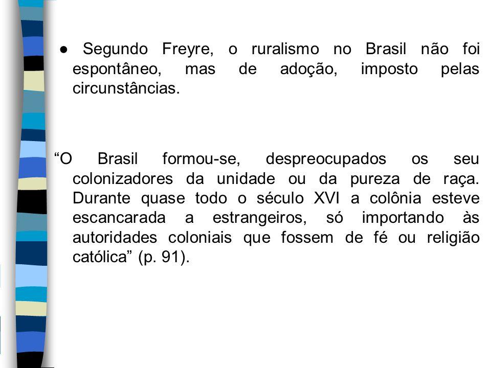 """● Segundo Freyre, o ruralismo no Brasil não foi espontâneo, mas de adoção, imposto pelas circunstâncias. """"O Brasil formou-se, despreocupados os seu co"""