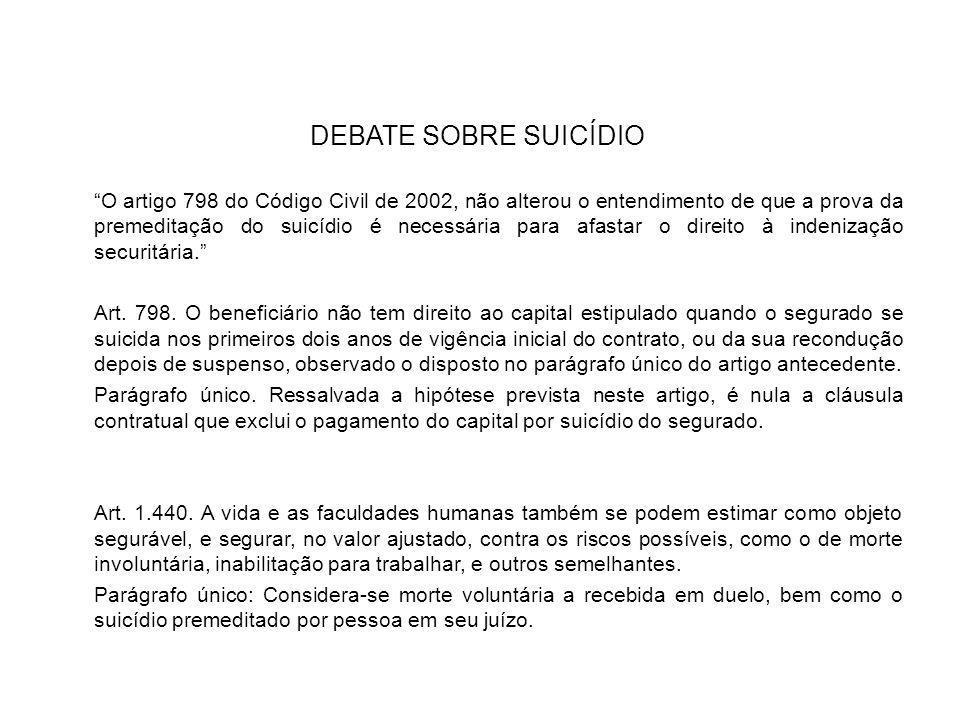 """DEBATE SOBRE SUICÍDIO """"O artigo 798 do Código Civil de 2002, não alterou o entendimento de que a prova da premeditação do suicídio é necessária para a"""