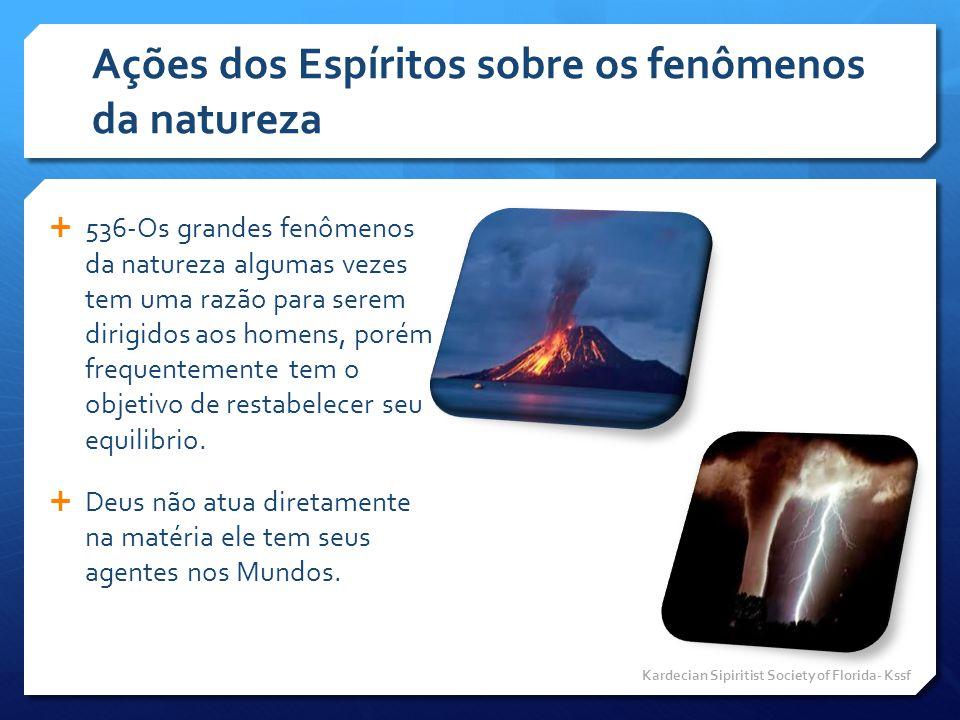 Ações dos Espíritos sobre os fenômenos da natureza  536-Os grandes fenômenos da natureza algumas vezes tem uma razão para serem dirigidos aos homens,