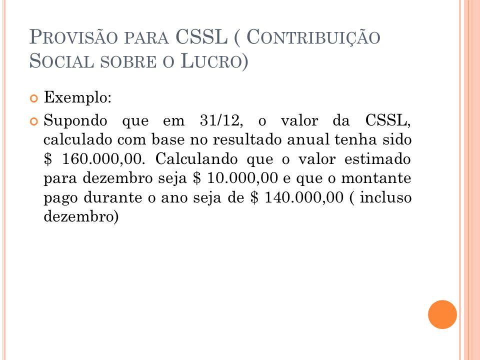 P ROVISÃO PARA CSSL ( C ONTRIBUIÇÃO S OCIAL SOBRE O L UCRO ) Exemplo: Supondo que em 31/12, o valor da CSSL, calculado com base no resultado anual tenha sido $ 160.000,00.