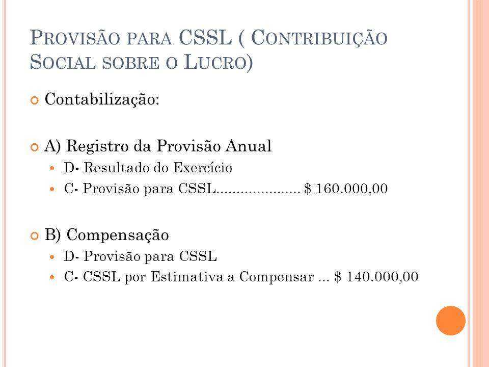 P ROVISÃO PARA CSSL ( C ONTRIBUIÇÃO S OCIAL SOBRE O L UCRO ) Contabilização: A) Registro da Provisão Anual D- Resultado do Exercício C- Provisão para CSSL.....................