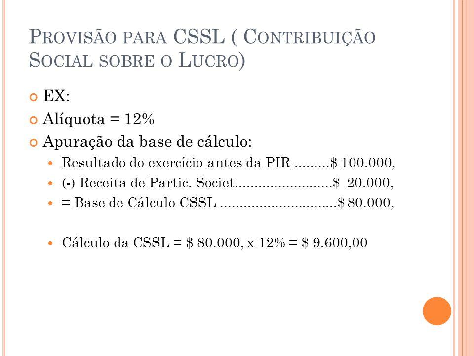 P ROVISÃO PARA CSSL ( C ONTRIBUIÇÃO S OCIAL SOBRE O L UCRO ) EX: Alíquota = 12% Apuração da base de cálculo: Resultado do exercício antes da PIR.........$ 100.000, (-) Receita de Partic.