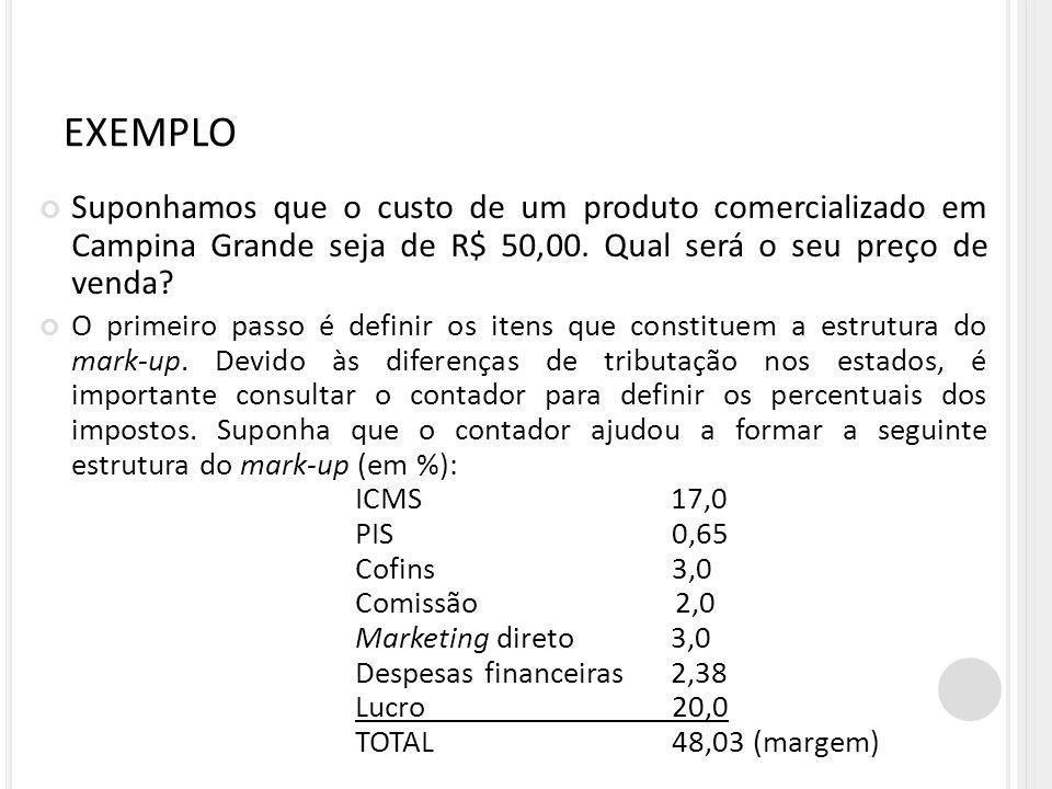 EXEMPLO Suponhamos que o custo de um produto comercializado em Campina Grande seja de R$ 50,00. Qual será o seu preço de venda? O primeiro passo é def