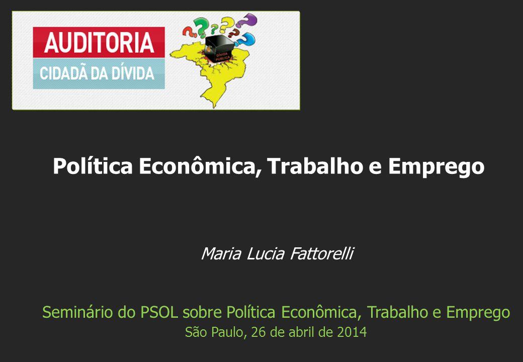 Maria Lucia Fattorelli Seminário do PSOL sobre Política Econômica, Trabalho e Emprego São Paulo, 26 de abril de 2014 Política Econômica, Trabalho e Emprego