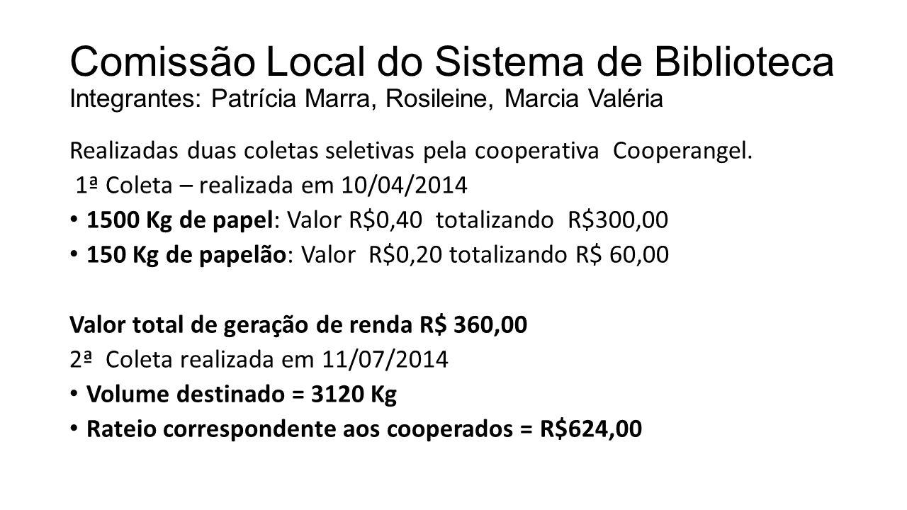 Comissão Local do Sistema de Biblioteca Integrantes: Patrícia Marra, Rosileine, Marcia Valéria Realizadas duas coletas seletivas pela cooperativa Cooperangel.