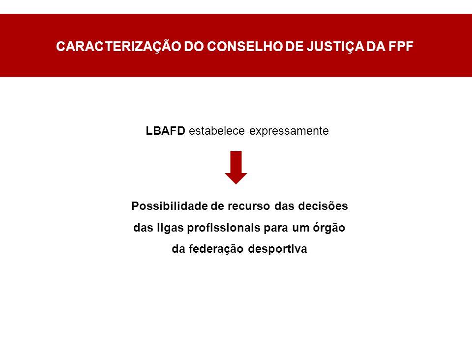 CARACTERIZAÇÃO DO CONSELHO DE JUSTIÇA DA FPF Possibilidade de recurso das decisões das ligas profissionais para um órgão da federação desportiva LBAFD estabelece expressamente