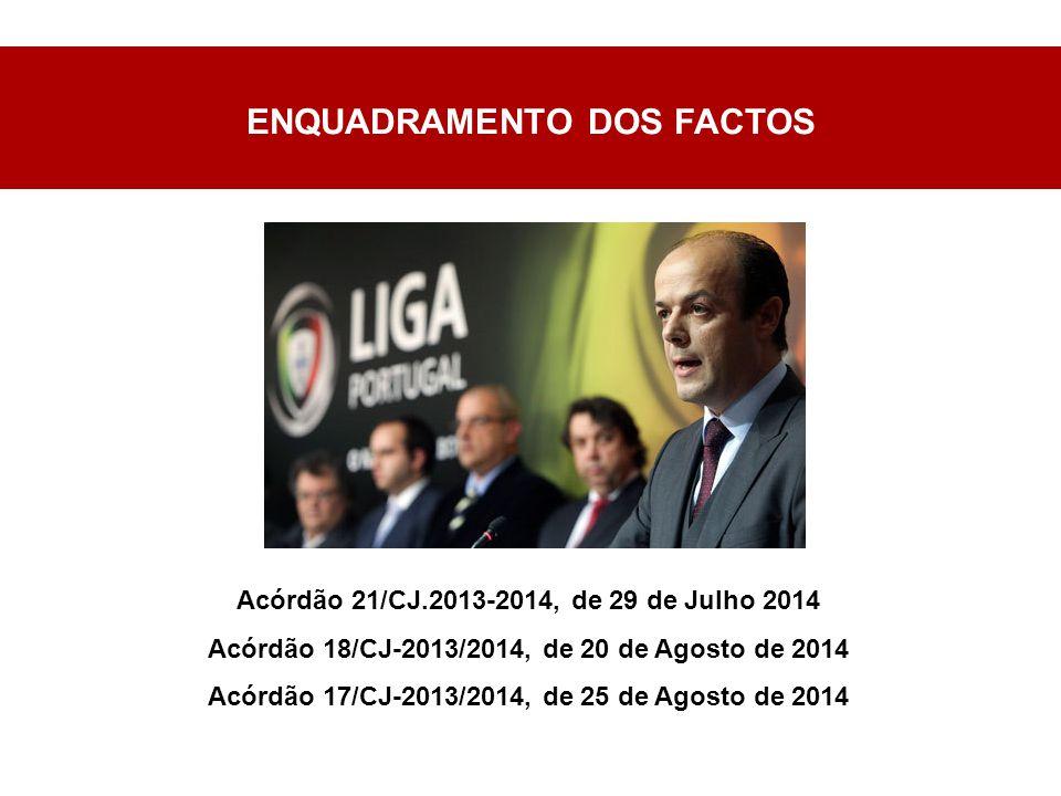 ENQUADRAMENTO DOS FACTOS Acórdão 21/CJ.2013-2014, de 29 de Julho 2014 Acórdão 18/CJ-2013/2014, de 20 de Agosto de 2014 Acórdão 17/CJ-2013/2014, de 25 de Agosto de 2014
