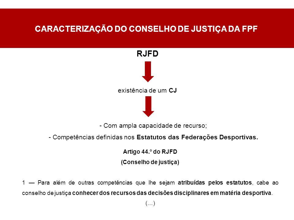 RJFD existência de um CJ - Com ampla capacidade de recurso; - Competências definidas nos Estatutos das Federações Desportivas.