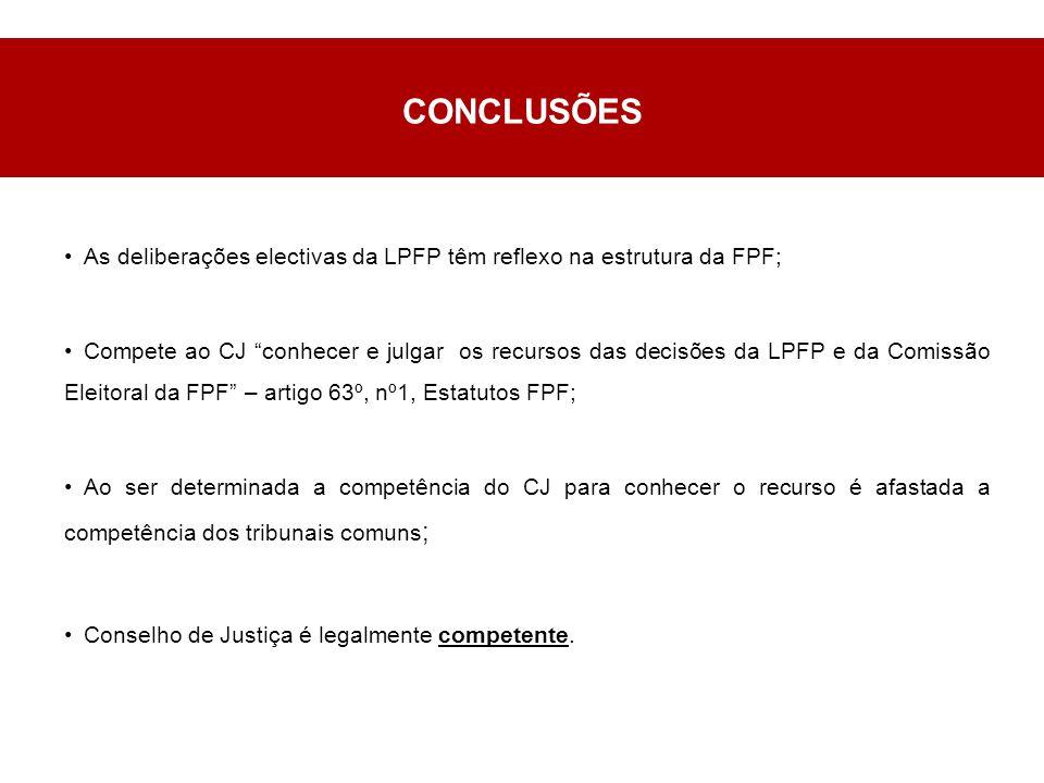 CONCLUSÕES As deliberações electivas da LPFP têm reflexo na estrutura da FPF; Compete ao CJ conhecer e julgar os recursos das decisões da LPFP e da Comissão Eleitoral da FPF – artigo 63º, nº1, Estatutos FPF; Ao ser determinada a competência do CJ para conhecer o recurso é afastada a competência dos tribunais comuns ; Conselho de Justiça é legalmente competente.