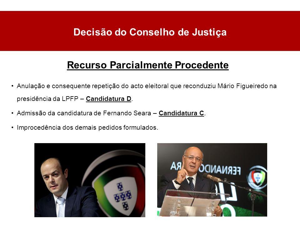 Decisão do Conselho de Justiça Anulação e consequente repetição do acto eleitoral que reconduziu Mário Figueiredo na presidência da LPFP – Candidatura D.