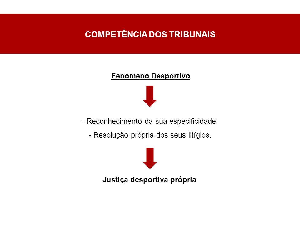 COMPETÊNCIA DOS TRIBUNAIS - Reconhecimento da sua especificidade; - Resolução própria dos seus litígios.