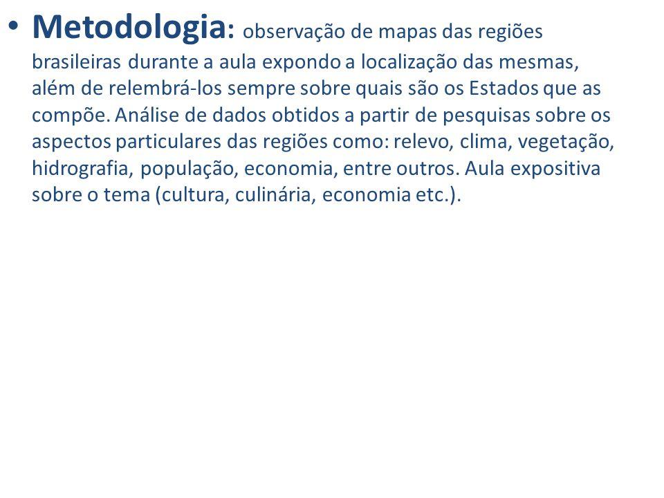 Metodologia : observação de mapas das regiões brasileiras durante a aula expondo a localização das mesmas, além de relembrá-los sempre sobre quais são