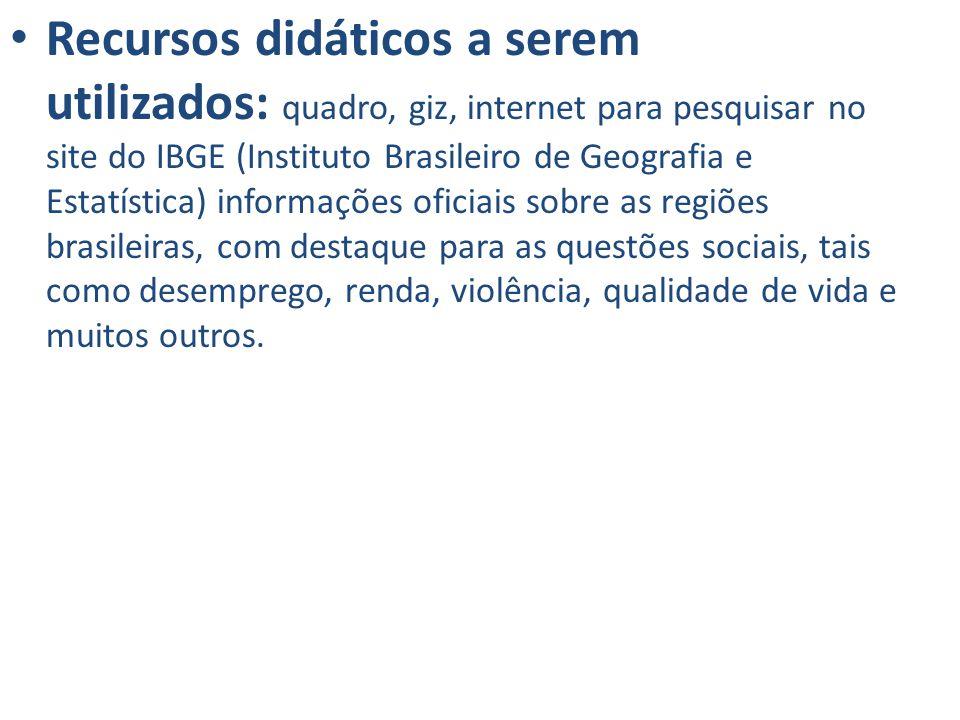 Recursos didáticos a serem utilizados: quadro, giz, internet para pesquisar no site do IBGE (Instituto Brasileiro de Geografia e Estatística) informaç