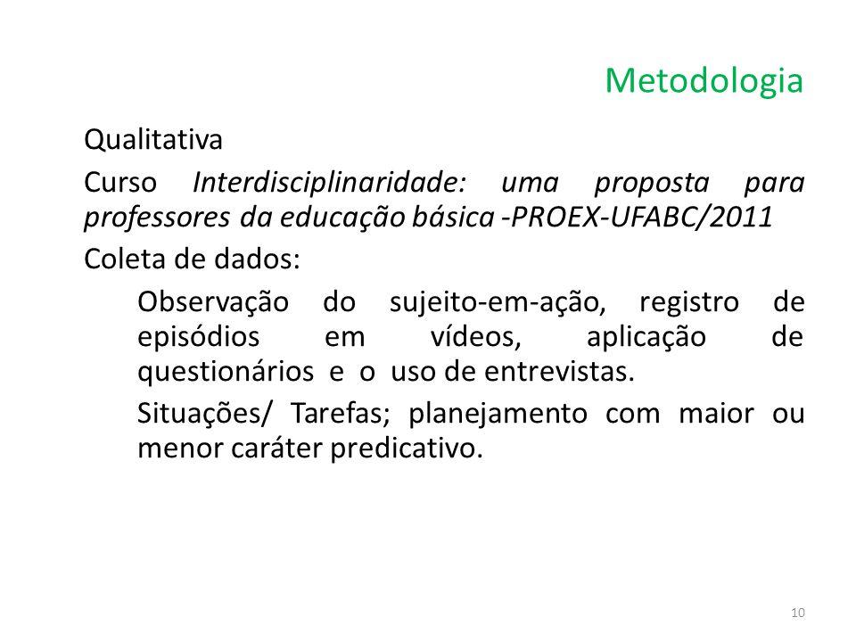 Metodologia Qualitativa Curso Interdisciplinaridade: uma proposta para professores da educação básica -PROEX-UFABC/2011 Coleta de dados: Observação do
