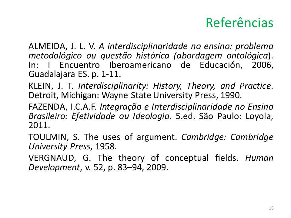 Referências ALMEIDA, J. L. V. A interdisciplinaridade no ensino: problema metodológico ou questão histórica (abordagem ontológica). In: I Encuentro Ib