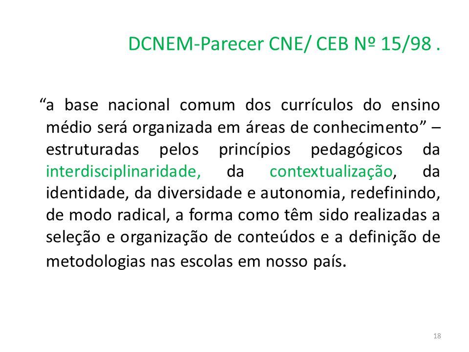 """DCNEM-Parecer CNE/ CEB Nº 15/98. """"a base nacional comum dos currículos do ensino médio será organizada em áreas de conhecimento"""" – estruturadas pelos"""