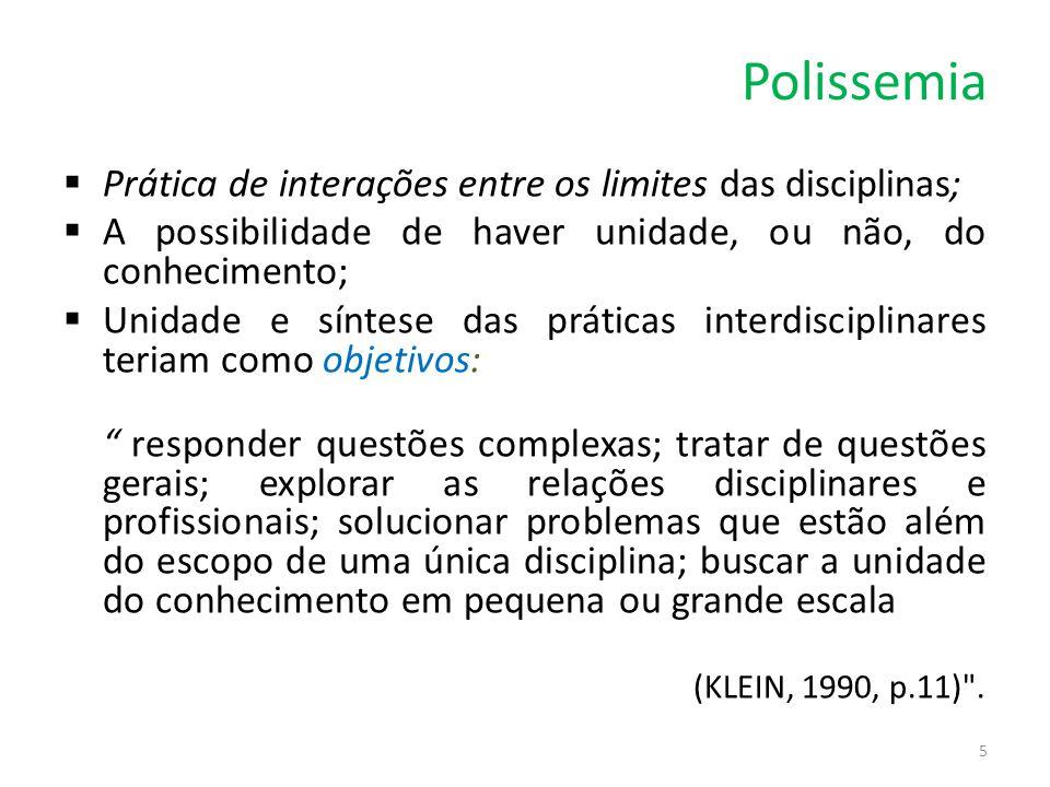 Polissemia  Prática de interações entre os limites das disciplinas;  A possibilidade de haver unidade, ou não, do conhecimento;  Unidade e síntese