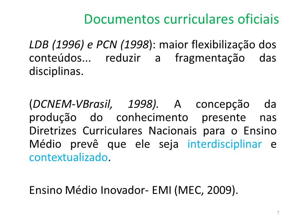 Documentos curriculares oficiais LDB (1996) e PCN (1998): maior flexibilização dos conteúdos... reduzir a fragmentação das disciplinas. (DCNEM-VBrasil