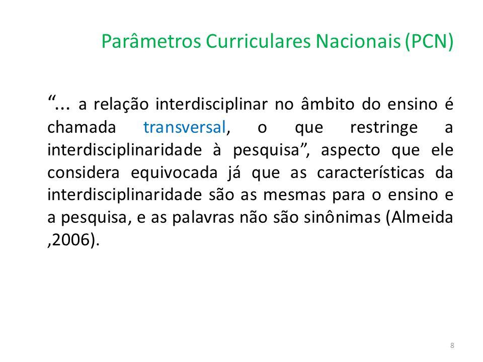 """Parâmetros Curriculares Nacionais (PCN) """"... a relação interdisciplinar no âmbito do ensino é chamada transversal, o que restringe a interdisciplinari"""