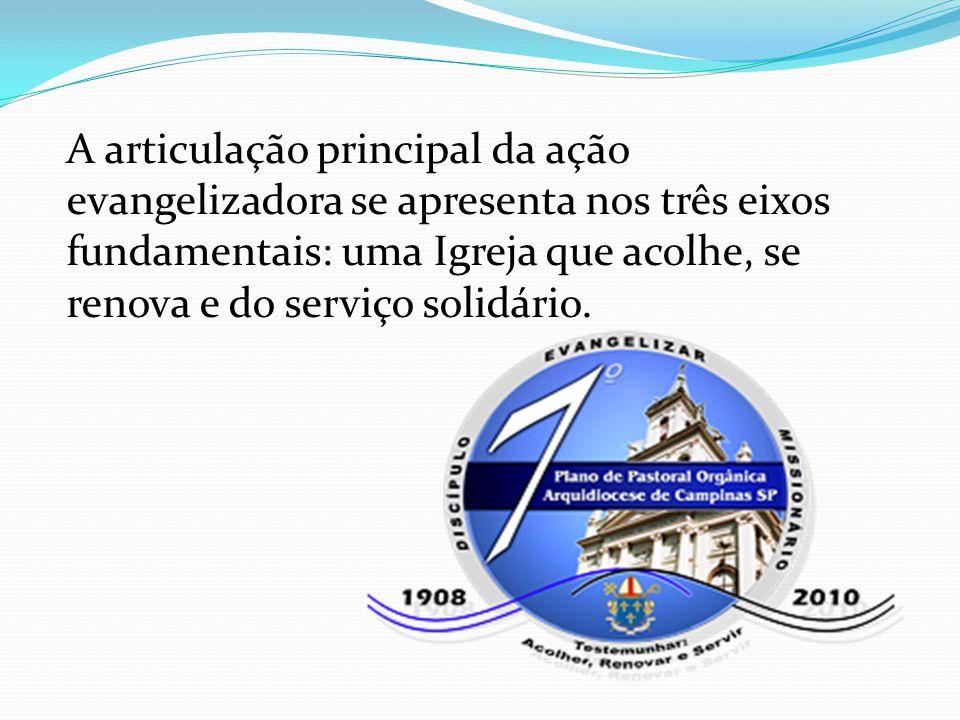 A articulação principal da ação evangelizadora se apresenta nos três eixos fundamentais: uma Igreja que acolhe, se renova e do serviço solidário.