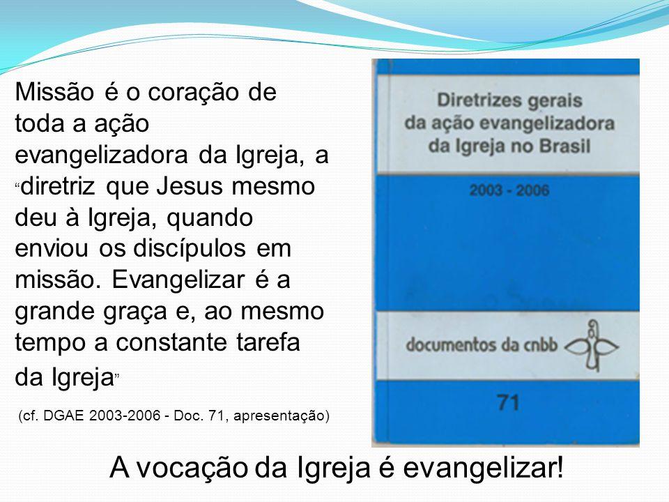 Missão é o coração de toda a ação evangelizadora da Igreja, a diretriz que Jesus mesmo deu à Igreja, quando enviou os discípulos em missão.