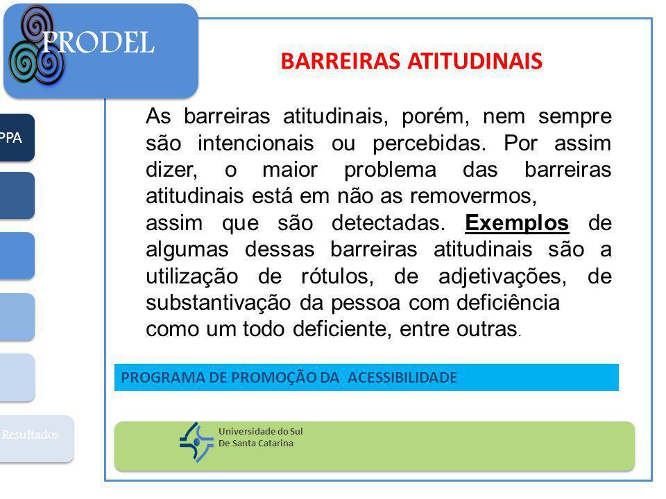 PPA Resultados PRODEL Universidade do Sul De Santa Catarina PROGRAMA DE PROMOÇÃO DA ACESSIBILIDADE BARREIRAS ATITUDINAIS As barreiras atitudinais, porém, nem sempre são intencionais ou percebidas.