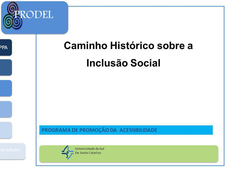 PPA Resultados PRODEL Universidade do Sul De Santa Catarina PROGRAMA DE PROMOÇÃO DA ACESSIBILIDADE Caminho Histórico sobre a Inclusão Social